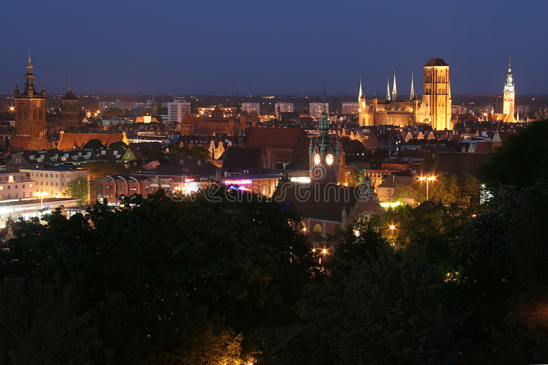 Gdansk Panorama By Night Stock Images