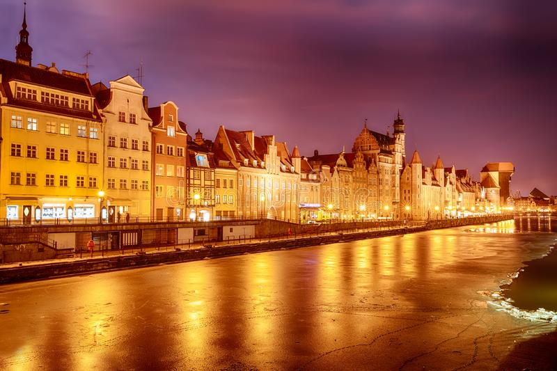 Gdansk pink sunset on the Motlawa river, winter view royalty free stock photography