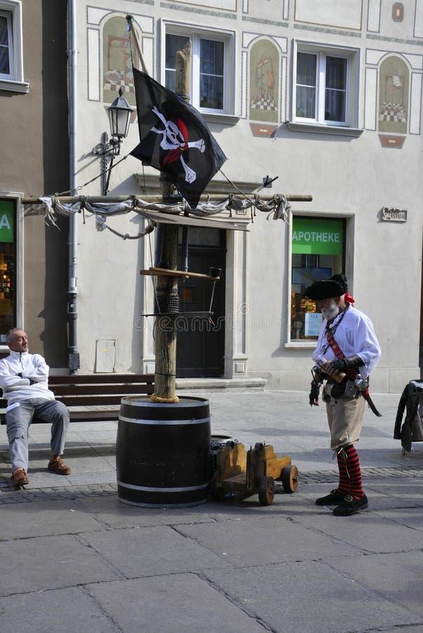 Gdansk, Polônia 25 de agosto: Artista da rua do centro em Gdansk do Polônia imagens de stock
