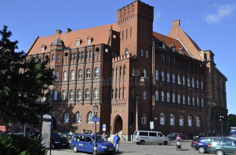 Gdansk, Polônia 25 de agosto: Construção histórica (National Bank do Polônia) em Gdansk do Polônia imagem de stock