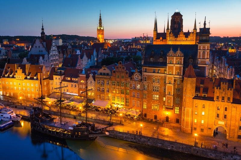 Gdansk, Poland - August 21, 2019: Beautiful architecture of the old town in Gdansk at dusk, Poland. Gdansk is the historical. Capital of Polish Pomerania with stock images