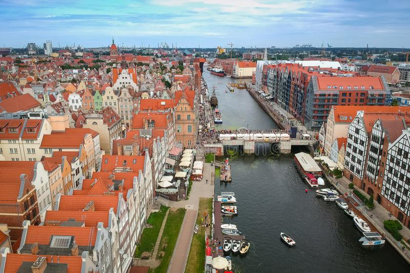 Gdansk, Poland - August 3, 2019: Beautiful old town of Gdansk over Motlawa river, Poland. Gdansk is the historical capital of. Polish Pomerania with beautiful stock photography