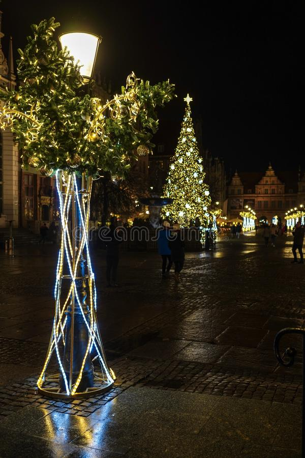Gdansk, Poland - December 13, 2018: Christmas decorations in the old town of Gdansk , Poland stock image