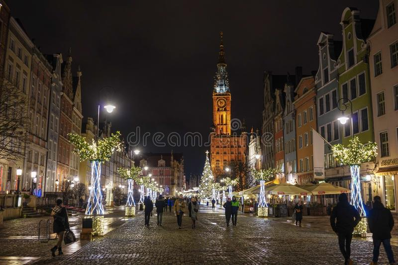 Gdansk, Poland - December 13, 2018: Christmas decorations in the old town of Gdansk , Poland stock images