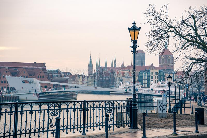 Panoramic view of Gdansk old town from the canal bank, Poland stock images