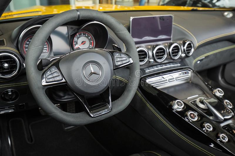 Interior of Mercedes GT C Roadster royalty free stock photo