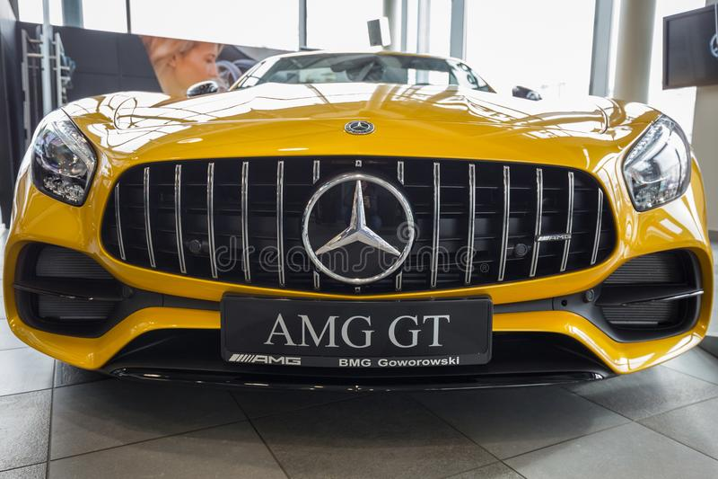Yellow Mercedes GT C Roadster stock photos