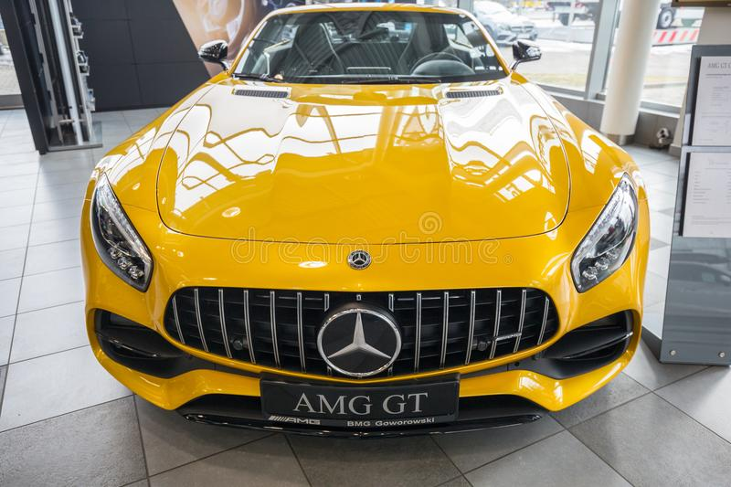 Yellow Mercedes GT C Roadster royalty free stock photos
