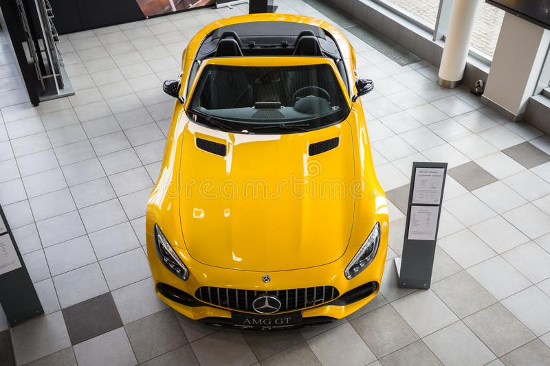 Yellow Mercedes GT C Roadster royalty free stock image