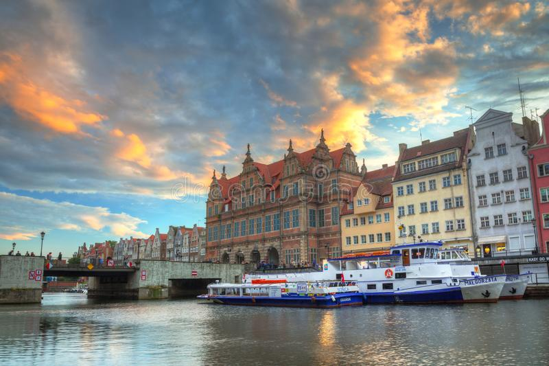 Gdansk, Poland - July 8, 2019: Beautiful sunset over Motlawa river in Gdansk, Poland. Gdansk is the historical capital of Polish. Pomerania with beautiful royalty free stock photo