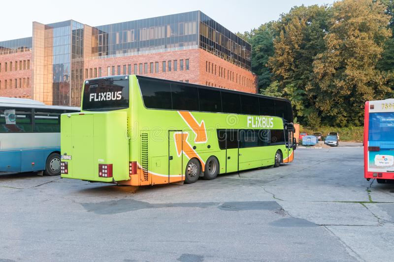 FlixBus coach parked on bus stop in Gdansk stock photography