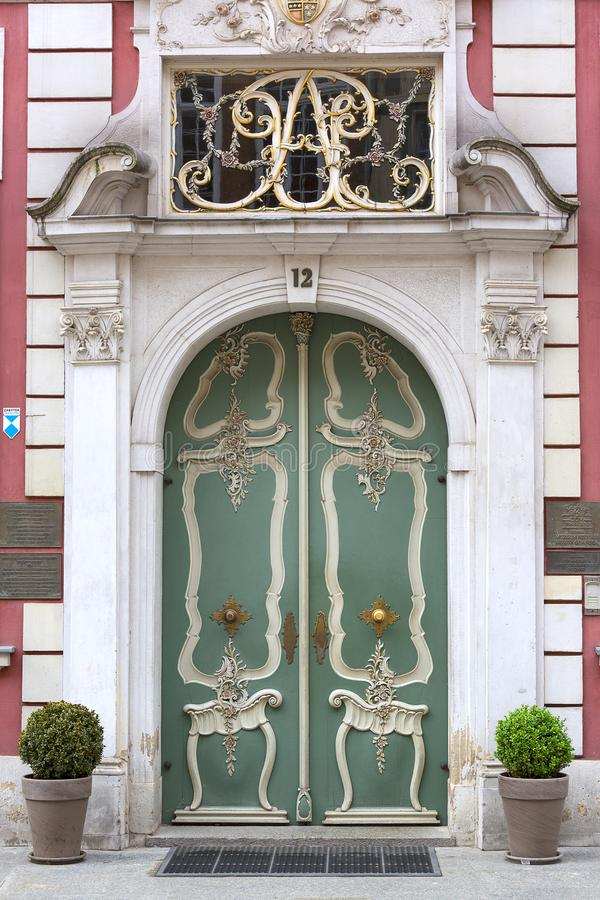 Long Market Street, medieval tenement house, decorative front door, Gdansk, Poland stock photography