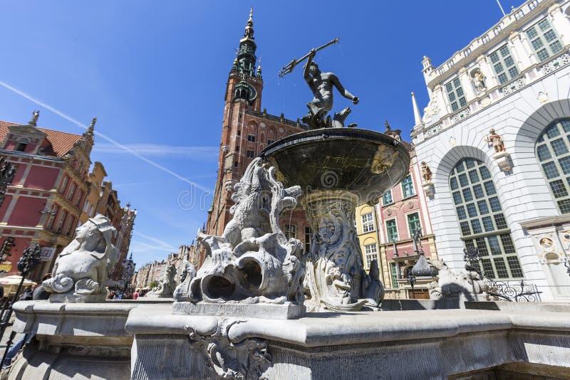 Neptune`s Fountain Statue at Long Market Street, Gdansk, Poland royalty free stock photo