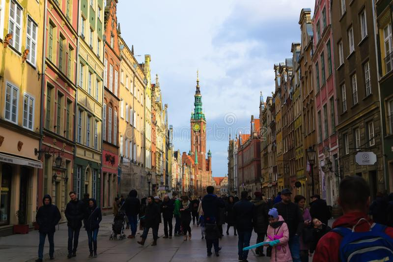 Gdansk, Poland - 25 of March 2019: Colorful buildings in old part of Europe royalty free stock images