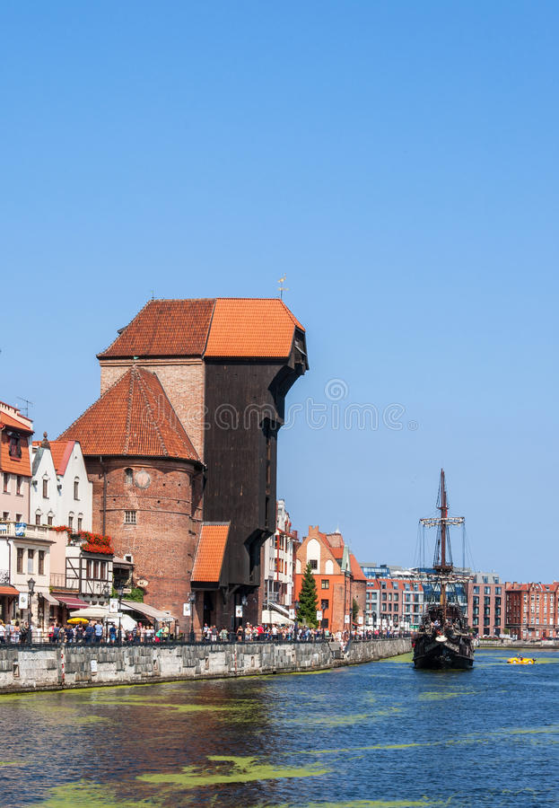 Gdansk, Poland. Medieval crane and pirate ship stock images