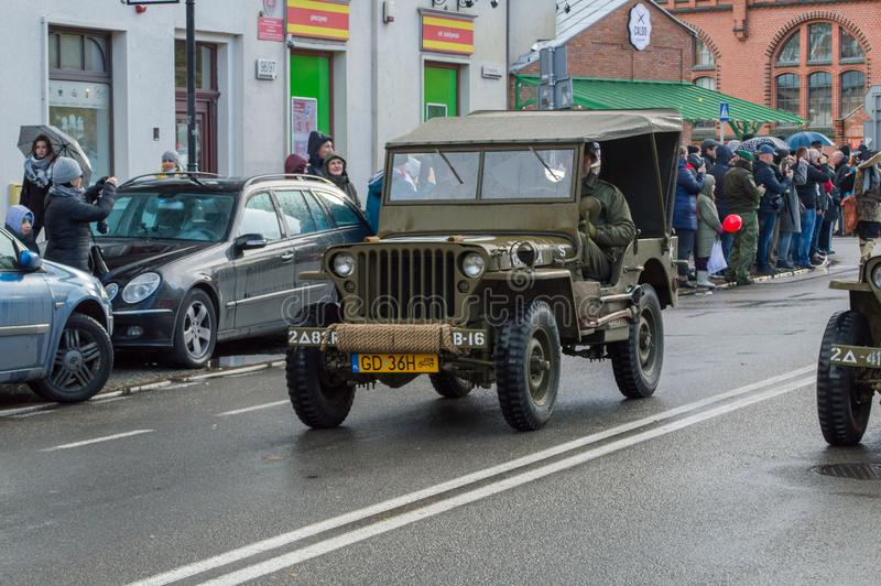 Historical US Army cars at National Independence Day in Gdansk in Poland. Celebrates 99th anni. GDANSK, POLAND - NOVEMBER 11, 2017: Historical US Army cars at stock images