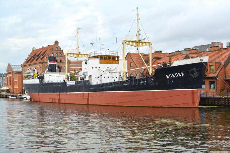 Gdansk, Poland O navio de Soldek - uma exibição do museu marítimo central fotografia de stock royalty free