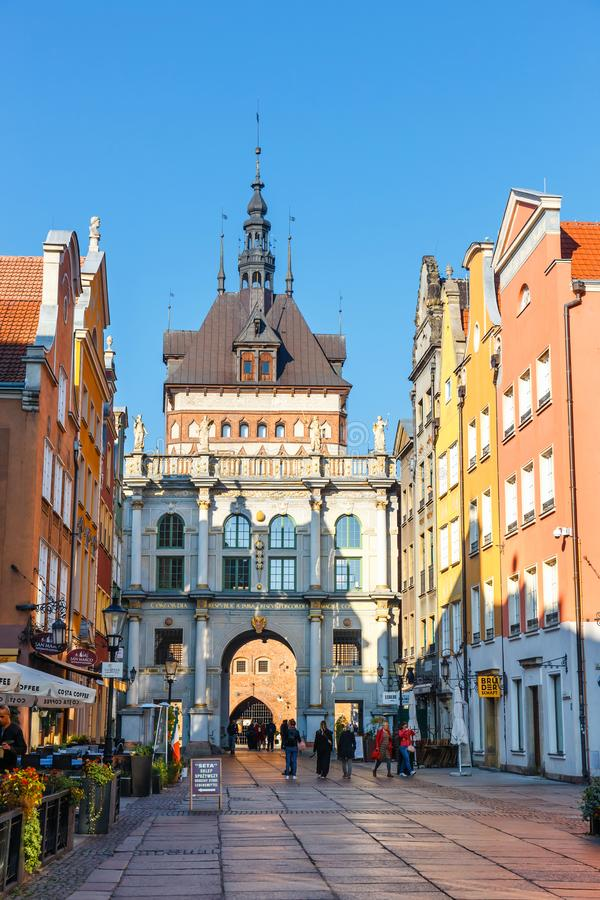 Golden gate and Prison Tower at Dluga Street in the old city center in Gdansk, Poland stock image