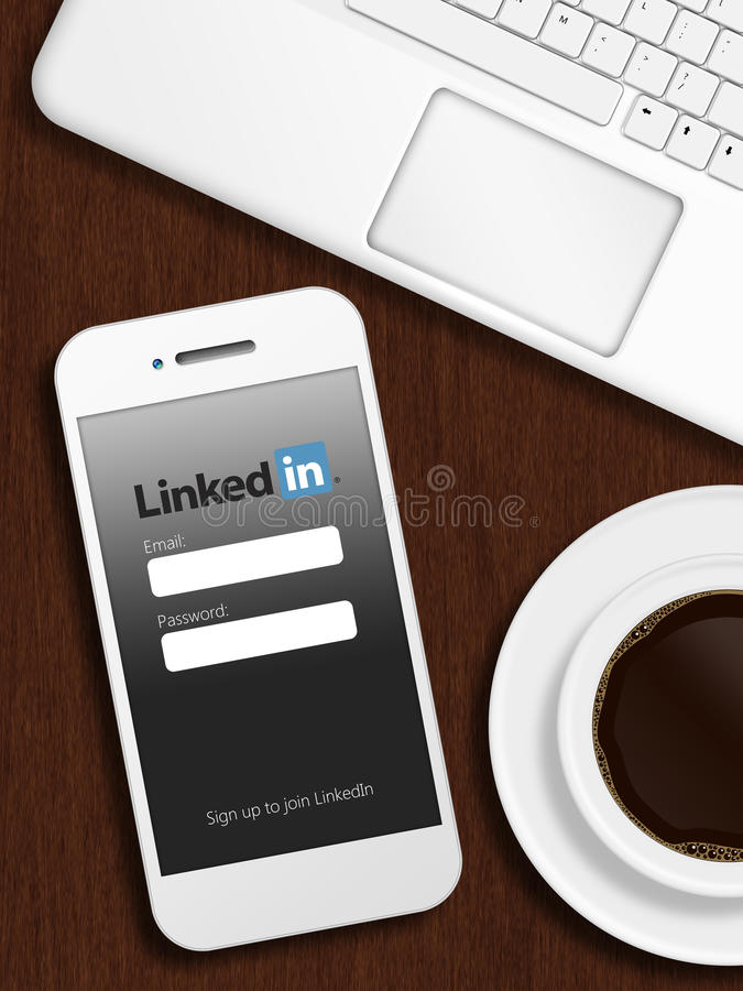 Gdansk, Poland - October 24, 2014: mobile phone with linkedin lo royalty free stock photos