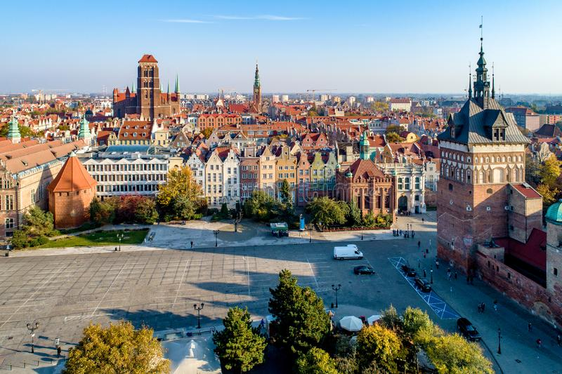 Gdansk old city, Poland. Aerial view. Gdansk, Poland. Old city skyline with Prison Tower, St Mary church, town hall tower, Golden Gate and Coal Market square royalty free stock photos