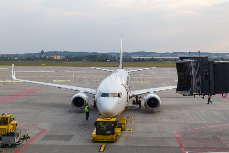 Aircraft line Ryanair Boeing 737-8AS ready for departure, Gdansk, Poland. royalty free stock photography