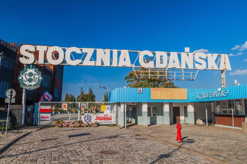GDANSK, POLAND - SEPTEMBER 1, 2016: Gate Number Two of Gdansk Shipyard, place of 1980s strikes.  stock photography