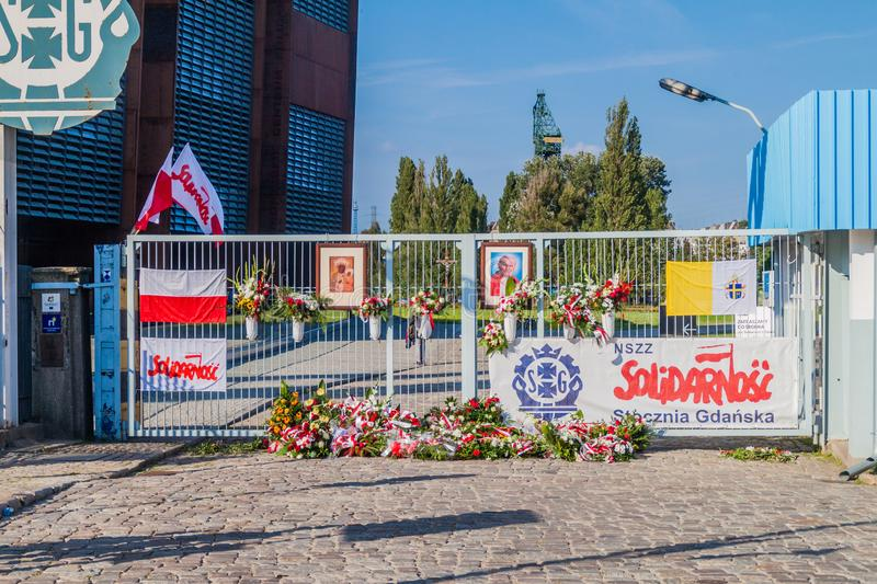 GDANSK, POLAND - SEPTEMBER 1, 2016: Gate Number Two of Gdansk Shipyard, place of 1980s strikes.  royalty free stock images