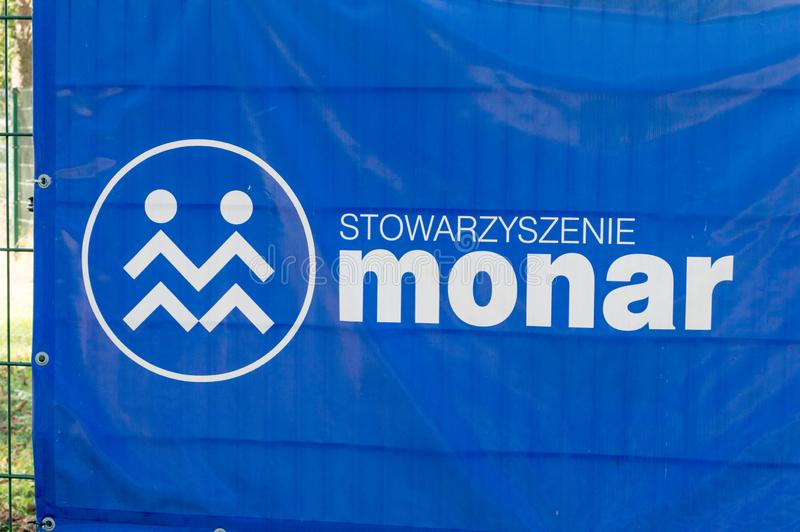 Logo and sign of Monar. Monar is a Polish non-governmental organization. Gdansk, Poland - September 19, 2018: Logo and sign of Monar. Monar is a Polish non stock photos