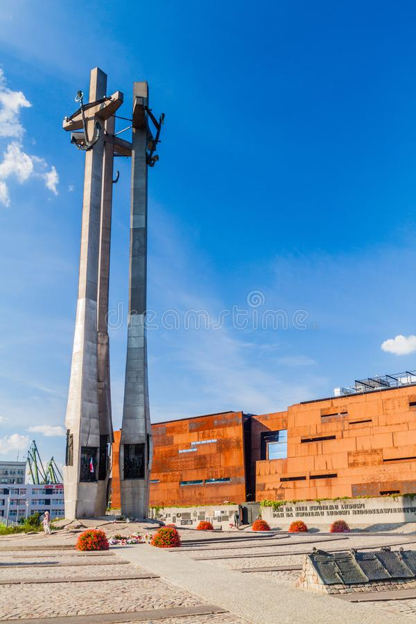 GDANSK, POLAND - SEPTEMBER 1, 2016: Monument to the Fallen Shipyard Workers of 1970 in Gdansk, Pola. Nd stock images