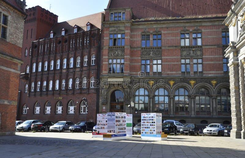 Gdansk, 25 Polen-Augustus: De historische bouw (National Bank van Polen) in Gdansk van Polen royalty-vrije stock foto