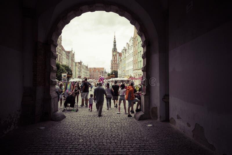 GDANSK, POLEN - AUGUSTUS 04, 2017: Mening over de oude stad in Gdansk stock foto's