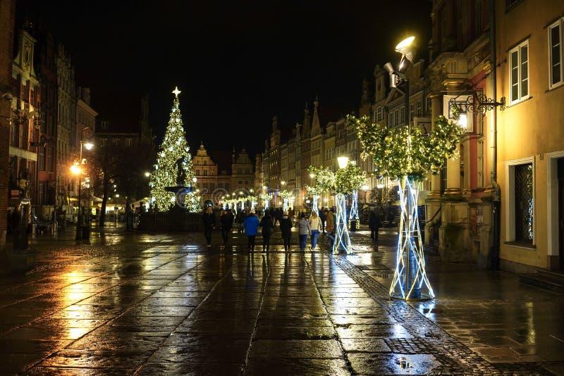 Gdansk Polen - December 13, 2018: Julpynt i den gamla staden av Gdansk, Polen royaltyfri bild