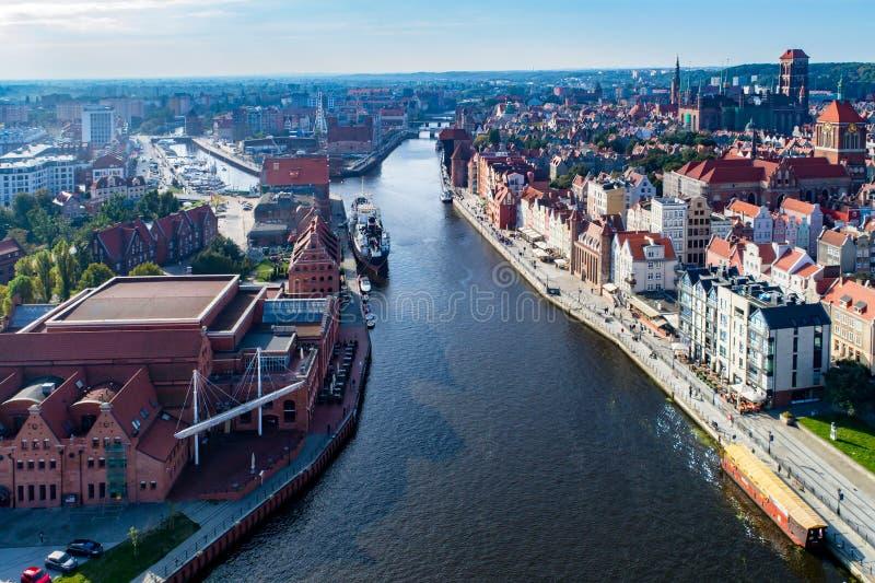 Gdansk, Polen Luftskyline mit Motlawa-Fluss, Schiff, Jachthafen stockbild