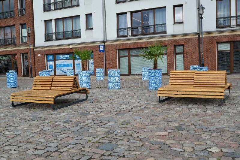 Gdansk, Polen Verbetering van het huis aangrenzende grondgebied op de stadsstraat stock foto