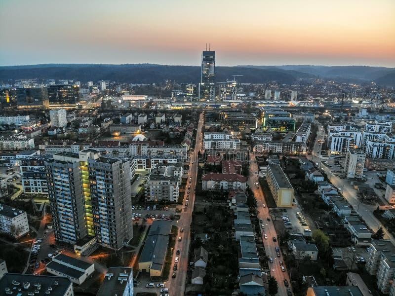 Gdansk Przymorze p? aftonen fotografering för bildbyråer