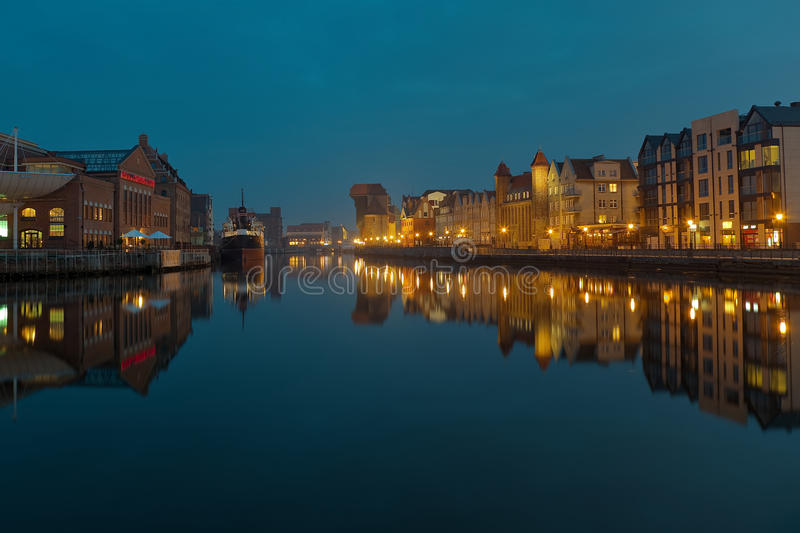 Download Gdansk Of Riverside At Night Stock Photo - Image of baltic, port: 13922340