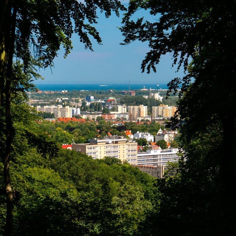 Gdansk Wrzeszcz och golf av Gdansk royaltyfri fotografi