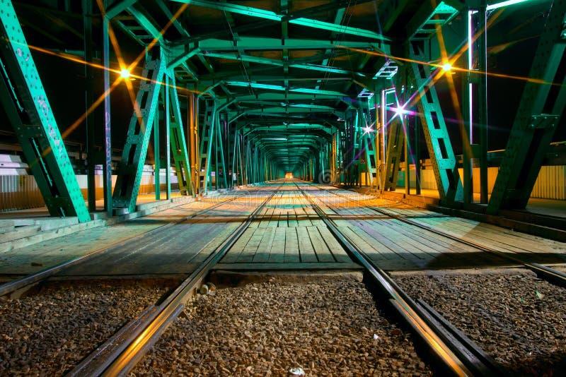 Download Gdanski Bridge stock image. Image of rails, night, lines - 12776229