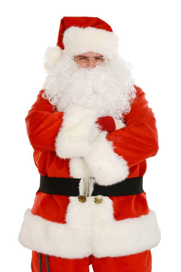 Gderliwy Święty Mikołaj w tradycyjnym kostiumu, ręka krzyżująca obrazy royalty free