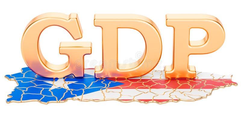 GDP bruto dos produtos internos do conceito de Porto Rico, rendição 3D ilustração stock