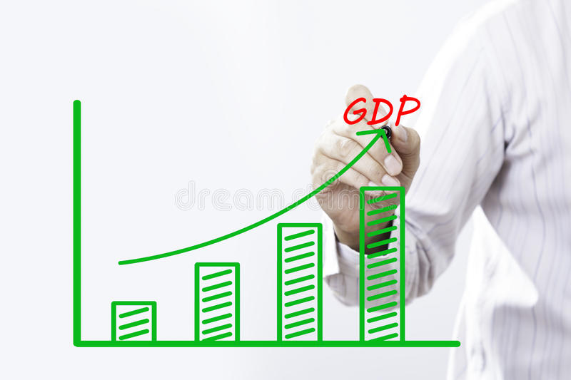 GDP text with hand of young businessman. Point on virtual graph green line and bar showing on increasing with background -business, finance, salary, crisis, and stock images