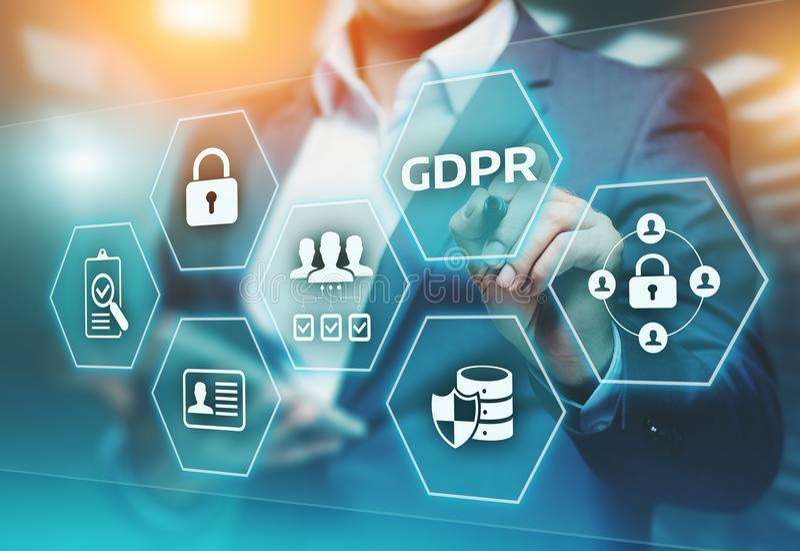 GDPR一般数据保护章程企业互联网技术概念 库存照片
