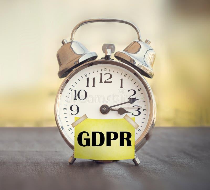 GDPR一般数据保护章程闹钟 库存图片