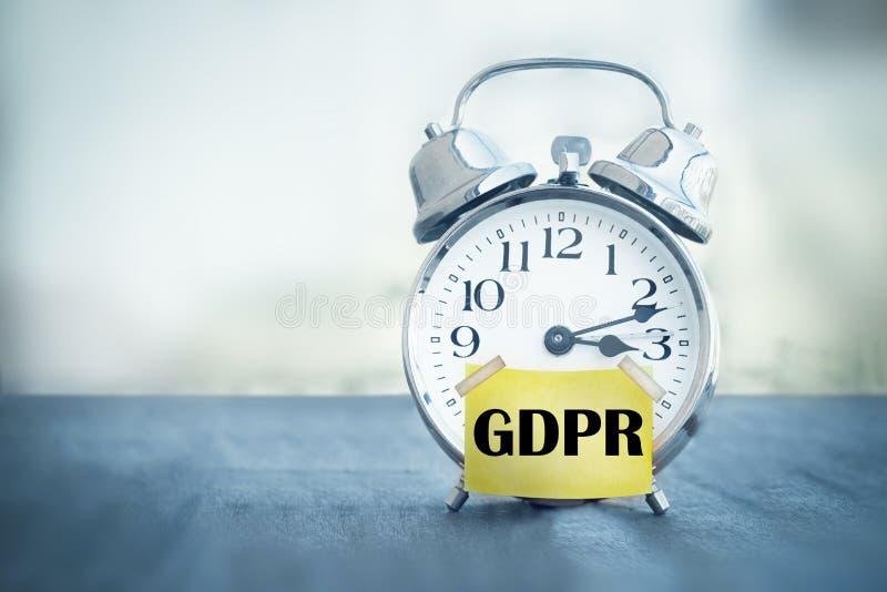 GDPR一般数据保护章程闹钟 免版税库存照片