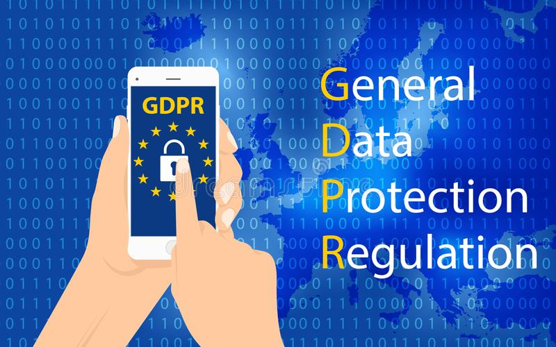 GDPR一般数据保护章程 EU计算机保障章程和资料加密导航概念 向量例证