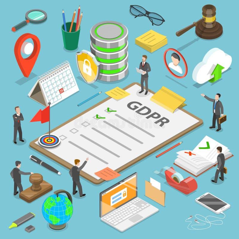 GDPR平的等量传染媒介概念 库存例证
