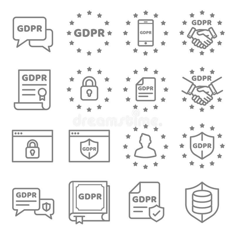 GDPR数据保密性传染媒介象集合 向量例证