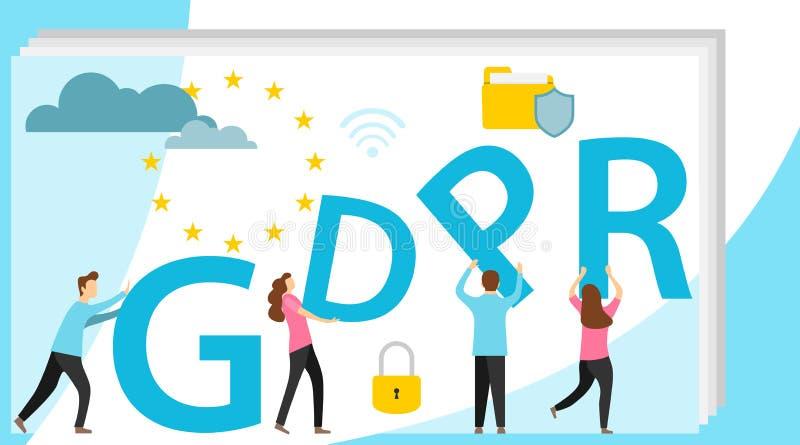 GDPR概念例证 GDPR横幅 数据想法  库存例证