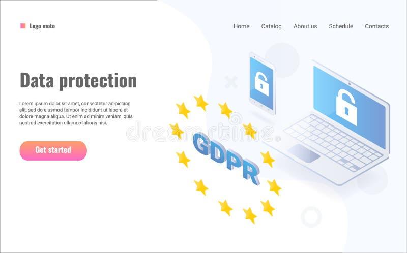 GDPR等量概念例证 一般数据保护章程 向量例证