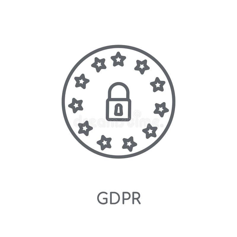 GDPR线性象 在白色后面的现代概述GDPR商标概念 库存例证
